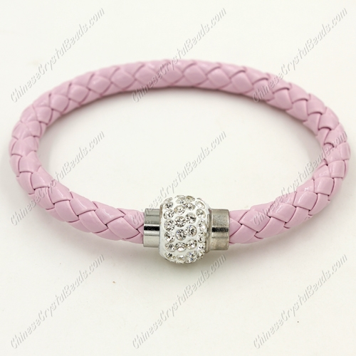 12pcs Weave leather bracelet, Magnetic Clasps, pink, wide 7mm, length about 7""