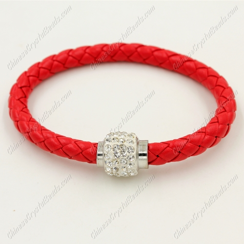 12pcs Weave leather bracelet, Magnetic Clasps, red, wide 7mm, length about 7""