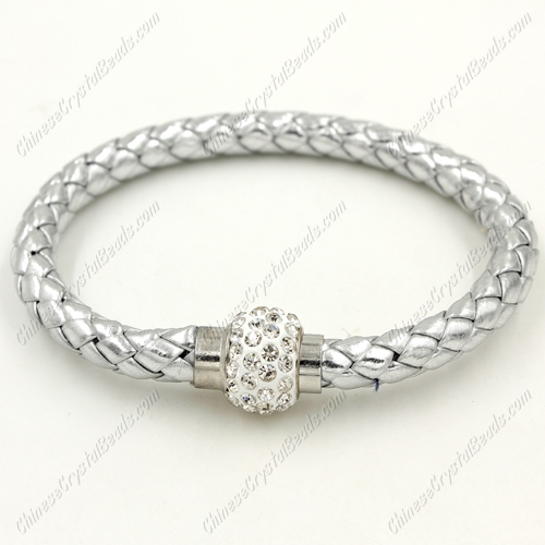 12pcs Weave leather bracelet, Magnetic Clasps, silver, wide 7mm, length about 7""