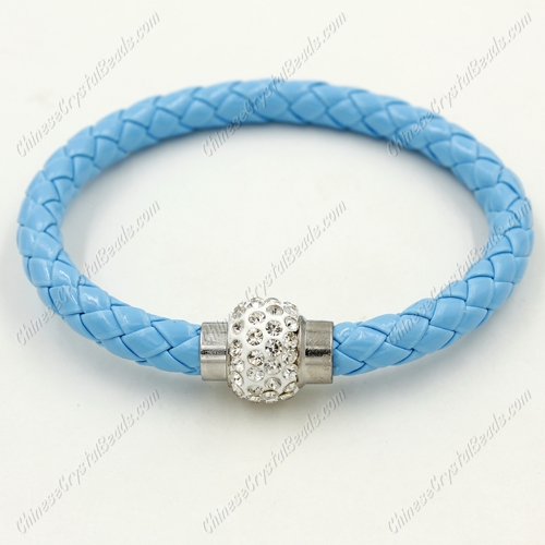 12pcs Weave leather bracelet, Magnetic Clasps, sky blue, wide 7mm, length about 7""