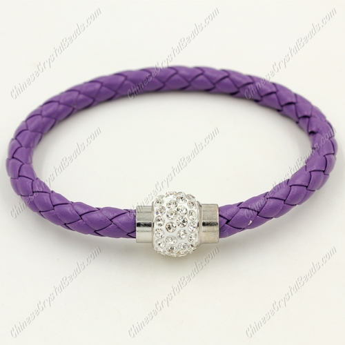 12pcs Weave leather bracelet, Magnetic Clasps, violet, wide 7mm, length about 7""