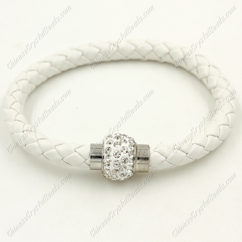 12pcs Weave leather bracelet, Magnetic Clasps, white, wide 7mm, length about 7""