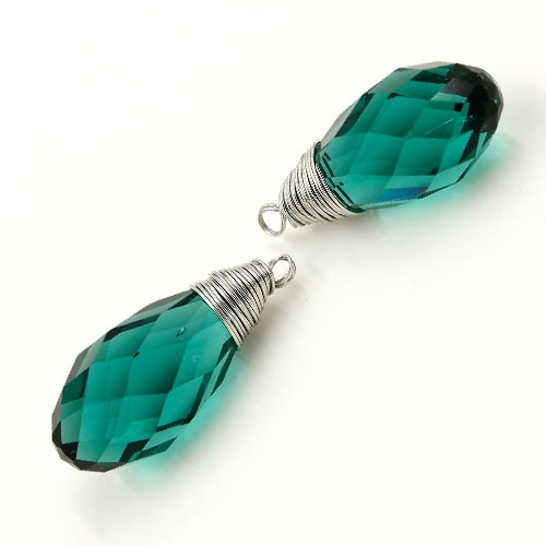 Wire Working Crystal drop Pendant, 10x20mm, Emerald, sold by 1 pc