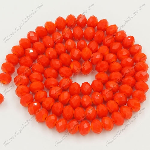 Crystal Rondelle Bead Strand, Opaque Tangerine, 4 x 6mm, about 100 beads