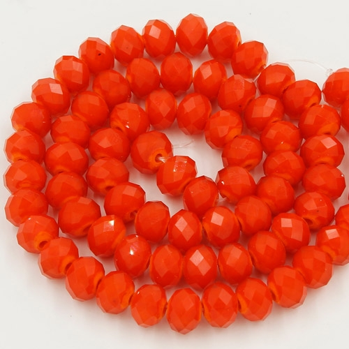 Chinese Crystal Rondelle Bead Strand, Opaque Tangerine, 6x8mm ,about 72 beads