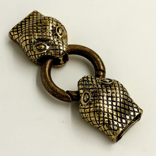 "Clasp, Snake End Cap, antiqued bronze finished ""pewter"" (zinc-based alloy),62x24mm Hole 13x3mm, Sold individually."