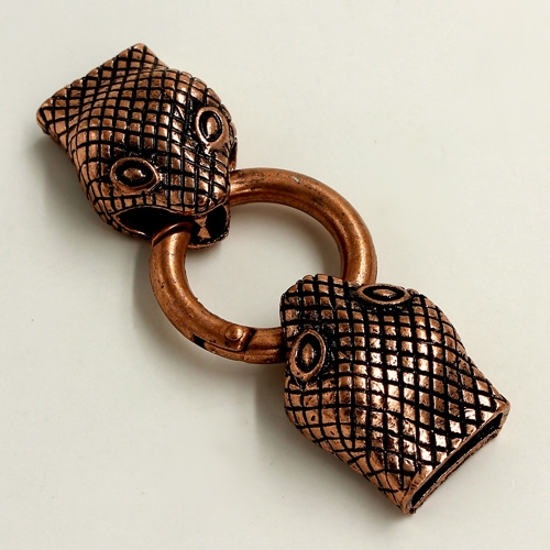 "Clasp, Snake End Cap, antiqued-copper finished ""pewter"" (zinc-based alloy),62x24mm Hole 13x3mm, Sold individually."