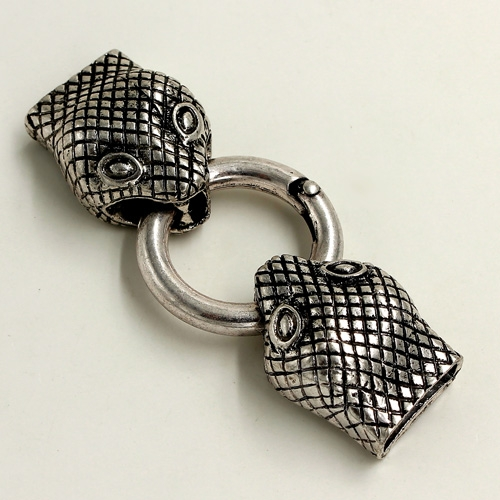 "Clasp, Snake End Cap, antiqued silver-finished ""pewter"" (zinc-based alloy),62x24mm Hole 13x3mm, Sold individually."