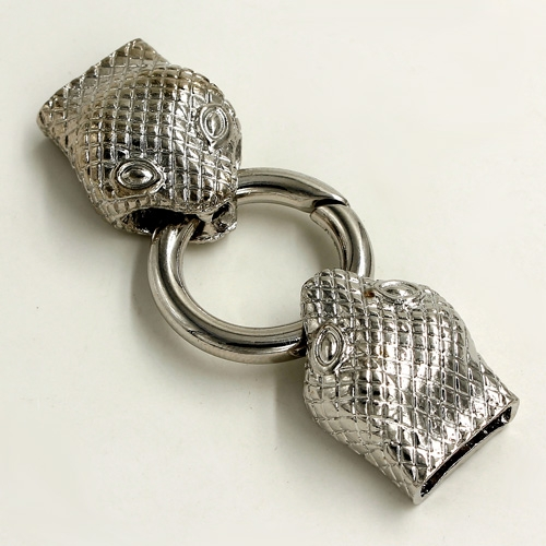 "Clasp, Snake End Cap, silver plated ""pewter"" (zinc-based alloy),62x24mm Hole 13x3mm, Sold individually."