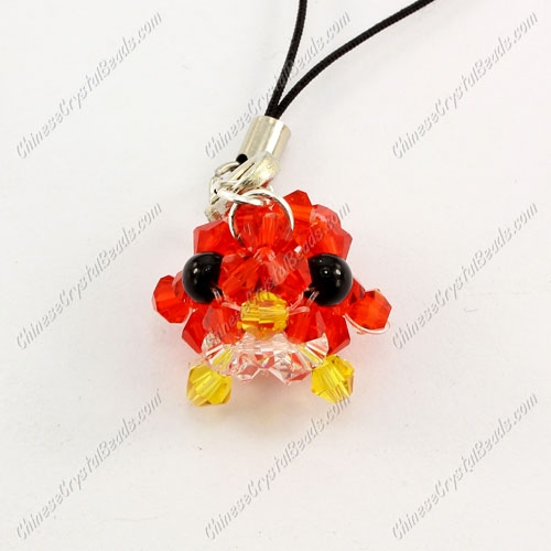 Crystal 3D beading bird Charm Kit , 15x15mm, red