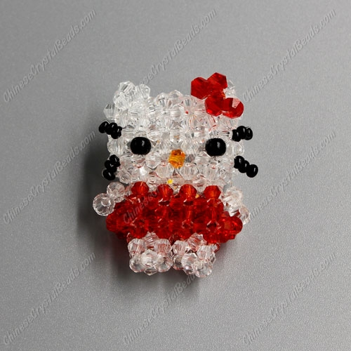 3D beading red cat (Charm Kit), 34x35mm