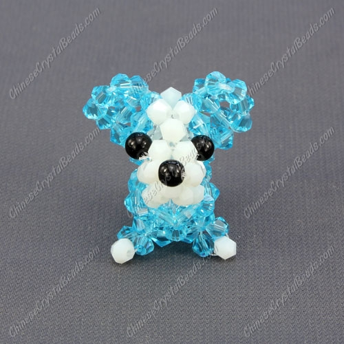 Crystal 3D beading Papillon puppy dog Charm Kit, 35x30mm, aqua