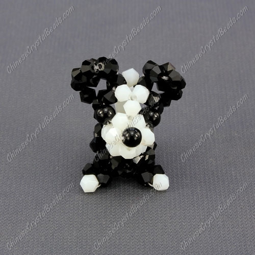 Crystal 3D beading Papillon puppy dog Charm Kit, 35x30mm, black