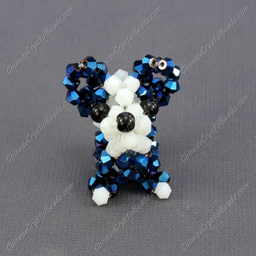 Crystal 3D beading Papillon puppy dog Charm Kit, 35x30mm, blue light