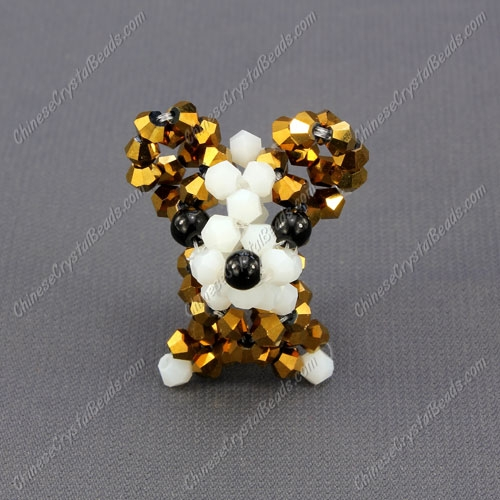 Crystal 3D beading Papillon puppy dog Charm Kit, 35x30mm, gold