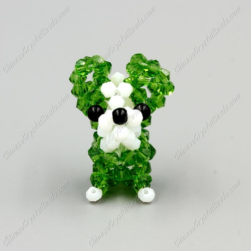 Crystal 3D beading Papillon puppy dog Charm Kit, 35x30mm, green