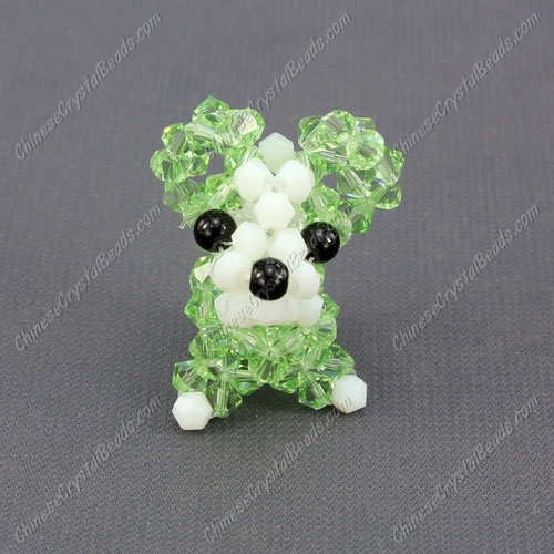 Crystal 3D beading Papillon puppy dog Charm Kit , 35x30mm, lime green