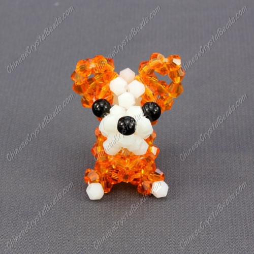 Crystal 3D beading Papillon puppy dog Charm Kit, 35x30mm, orange