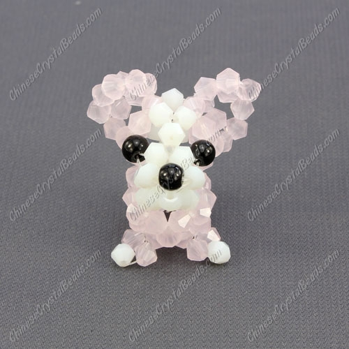 Crystal 3D beading Papillon puppy dog Charm Kit, 35x30mm, pink jade