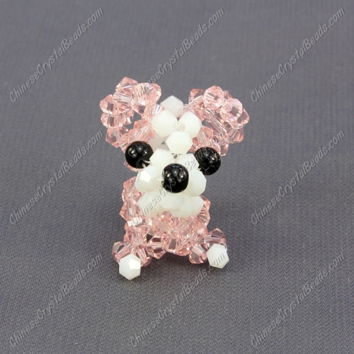 Crystal 3D beading Papillon puppy dog Charm Kit, 35x30mm, pink