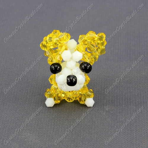 Crystal 3D beading Papillon puppy dog Charm Kit, 35x30mm, yellow