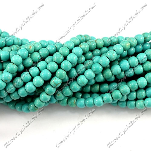 5mm Turquoise round beads, about 80 pcs per strand