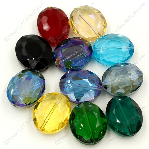 Chinese Crystal Faceted Oval pendant, mixed, 20x24mm, 9 beads