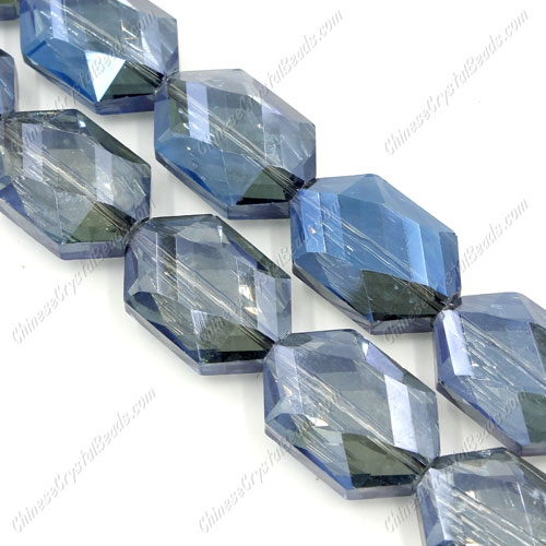 10Pcs Faceted Polygon Hexagon Glass Crystal, Magic Blue, hole:1.5mm (2 size)