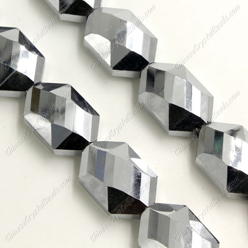 10Pcs Faceted Polygon Hexagon Glass Crystal, silver, hole:1.5mm (2 size)