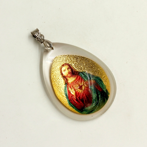 Gold Portrait Jesus in the glass pendant, 26x38mm, 1 pcs