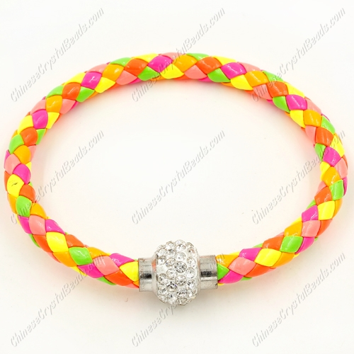 12pcs Weave leather bracelet, Magnetic Clasps, neon yellow, wide 7mm, length about 7""