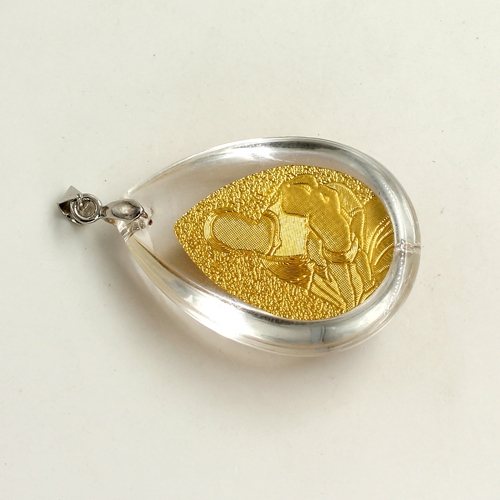 Gold Portrait Virgin Mary in the glass pendant, 26x38mm, 1 pcs