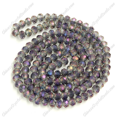 Chinese Crystal Long Rondelle Strand, 3x4mm, Purple haze , about 150 beads