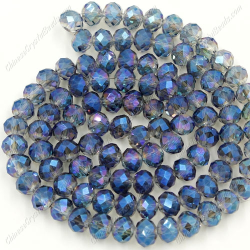 Chinese Crystal 4x6mm Rondelle Bead Strand, transparently blue light, about 100 beads