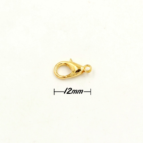 Clasp, lobster claw, gold plated, 12mm. Sold per pkg of 10.