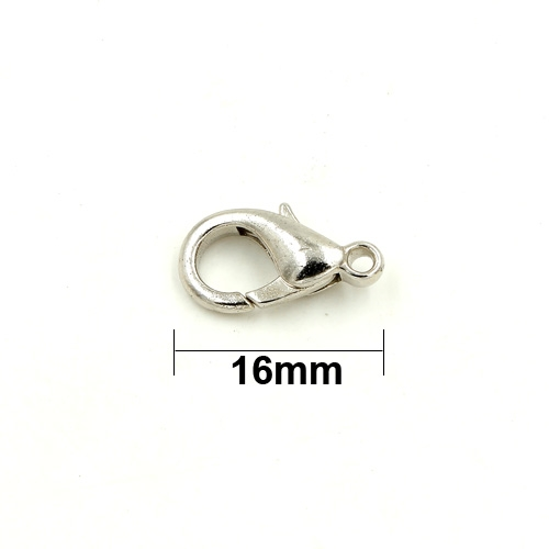 Clasp, lobster claw, silver plated, 16mm. Sold per pkg of 10.