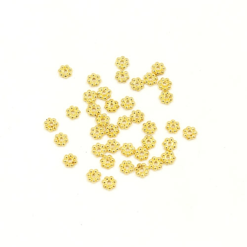 Zinc Alloy Spacer Beads, flowr, gold plated, 4x1mm, hole:1mm, 200pcs