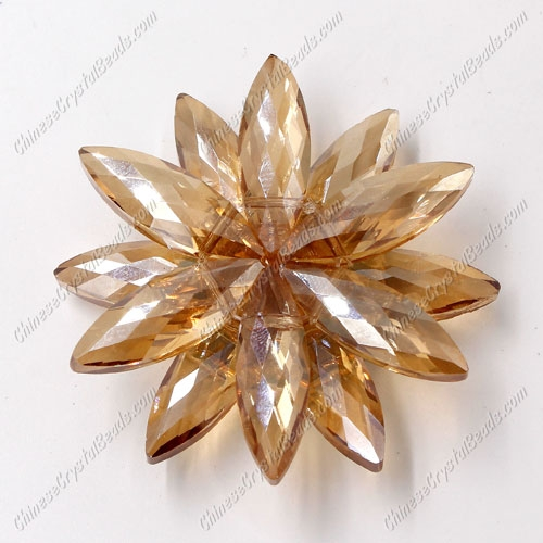 Beaded crystal flower, CCB Base, 45mm width, golden shadow, 1pcs