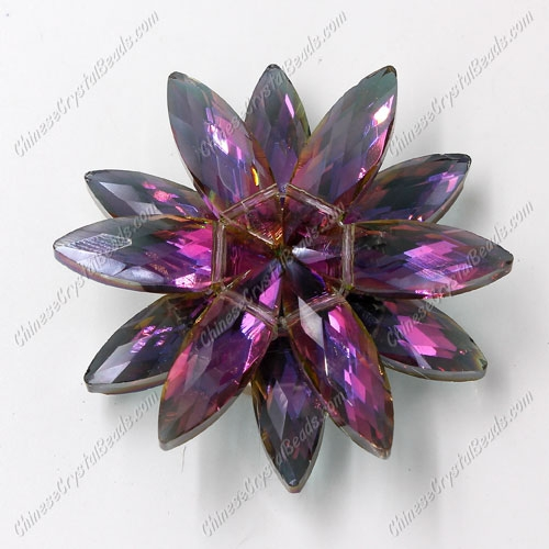 Beaded crystal flower, CCB Base, 45mm width, purple and green light, 1pcs