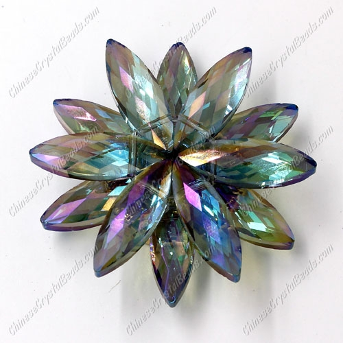 Beaded crystal flower, CCB Base, 45mm width, green light, 1pcs