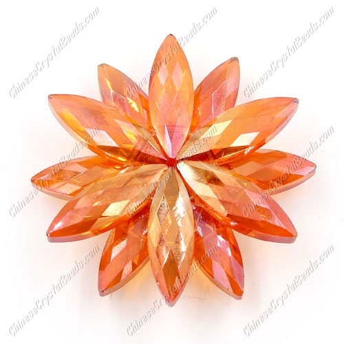 Beaded crystal flower, CCB Base, 45mm width, orange light, 1pcs