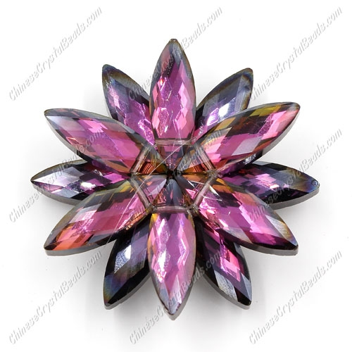 Beaded crystal flower, CCB Base, 45mm width, purple and hematite light, 1pcs