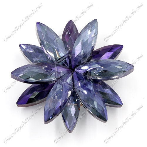 Beaded crystal flower, CCB Base, 45mm width, purple light, 1pcs