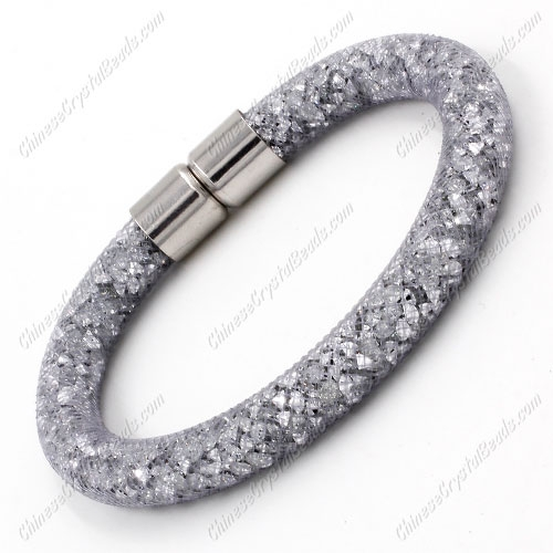 Stardust Mesh Bracelet, width:8mm,gray mesh and clear Rhinestone