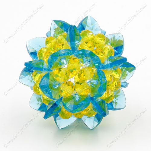 3D beaded flower ball, aque and yellow, width45mm, 1 pc