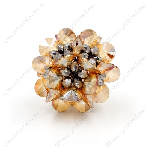 3D beaded flower ball, champange and silver, width:33mm, 1 pc