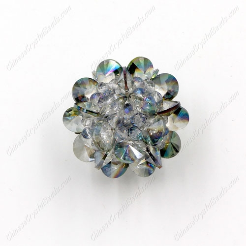 3D beaded flower ball, green light, width:33mm, 1 pc