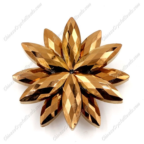 Beaded crystal flower, CCB Base, 45mm width, copper, 1pcs