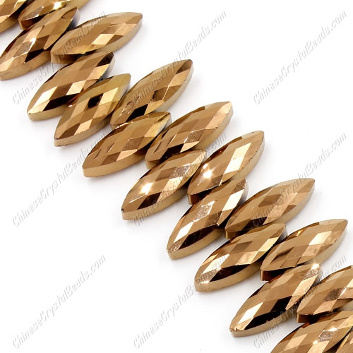 Leaf crystal beads, 7x22mm, copper, 10 beads