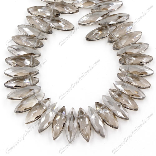 Leaf crystal beads, 7x22mm, silver shade, 10 beads